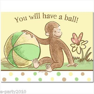 CURIOUS GEORGE 1st BIRTHDAY INVITATIONS (8) ~ First Party Supplies Stationery