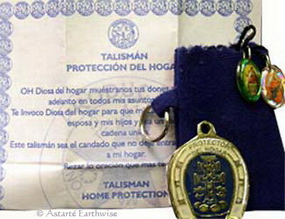 1 x PROTECT MY HOME TALISMAN WITH POUCH POCKET  Wicca Pagan Witch Amulet Goth