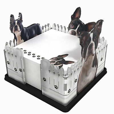 Boston Terrier Dog Breed Acrylic Note Holder Memo Note Pad Made in USA