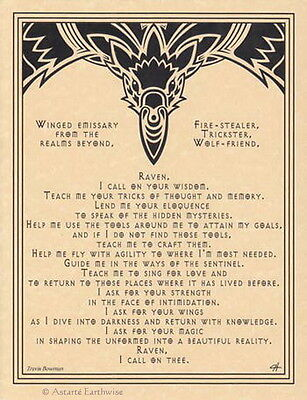 RAVEN PRAYER - POSTER A4 SIZE Wicca Pagan Witch Witchcraft Goth BOOK OF SHADOWS