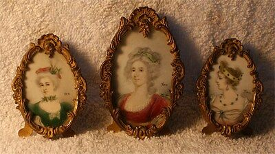 4 VICTORIAN  Celluloid  Painting miniature paintingt signed ORNATE BRASS FRAMES