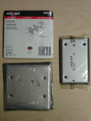 NOS! LOT of (3) RED DOT 1 & 2-GANG MILL FINISH BLANK WALL PLATE, WET LOCATION