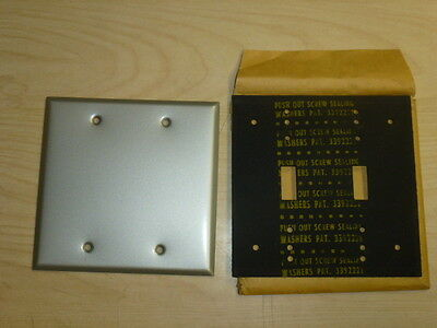 Nos! 2-Gang Mill Finish Blank Wall Plate, Wet Location