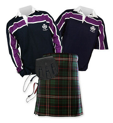 8yd Kilt Outfit 'Sports Essential' - Purple Stripe Rugby Top - Scottish National