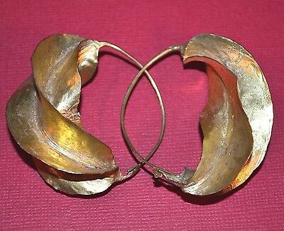 Medium African Fulani Tribal Lightweight Gold Washed Brass Earrings, Africa