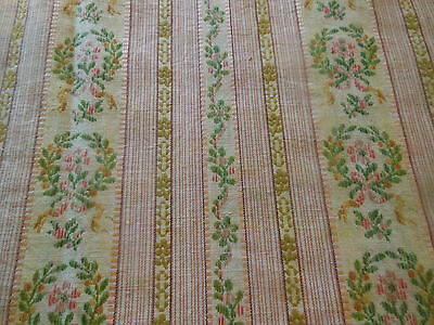 Antique 19thc French Floral Wreath Lisere Cotton Brocade Fabric~pink green