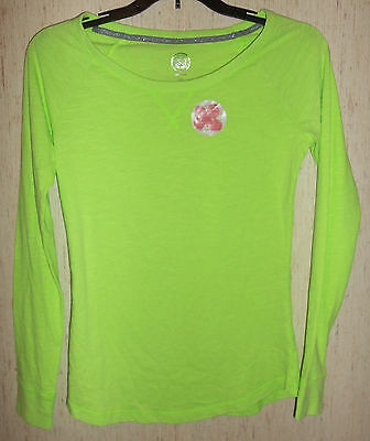 NWT WOMENS / JUNIORS So Intimates NEON GREEN KNIT PAJAMA TOP  SIZE XS