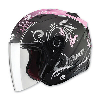 Of77 Cruiser Motorcycle Flat Pink Butterfly Helmet Retractable Visor Full Shield