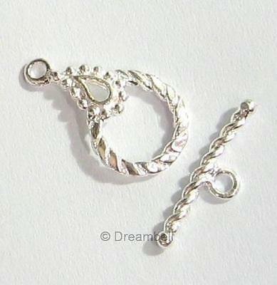1x Sterling Silver Round Twisted Dots Toggle Clasp 17.5mm