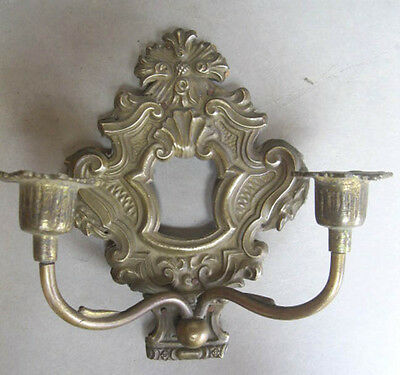 "Vintage STAMPED BRASS European SCONCE,2-Arm,C.1880,7""x7"""