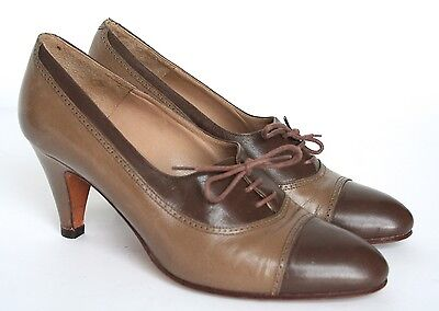 UK 3.5/4  Vintage Shoes - 80s brown lace-up heeled brogues
