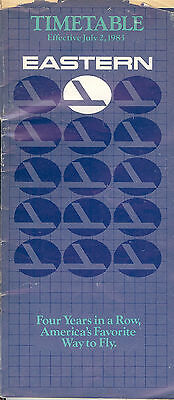 Airline Timetable - Eastern - 01/07/83
