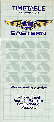 Airline Timetable - Eastern - 15/11/84