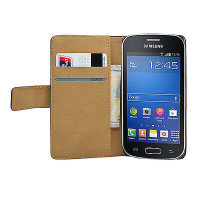 WALLET Leather Flip Case Cover Pouch for Samsung Galaxy Fresh GT-S7390 +2 FILMS