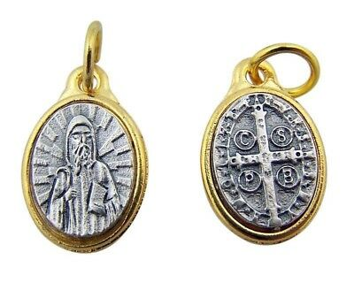 "Saint Benedict of Nursia Medal 1/2"" Gold P Zinc Alloy Tu Tone Protection Pendant"