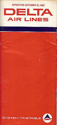 Airline Timetable - Delta - 31/10/82