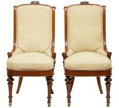 Pair Of Carved Mahogany Empire Influenced Nursing Chairs