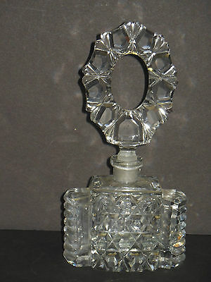 VINTAGE CZECH CUT CRYSTAL PERFUME BOTTLE WITH STOPPER                      h3