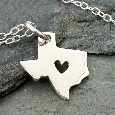 Heart of Texas Necklace - 925 Sterling Silver - Texas State Charm Jewelry NEW