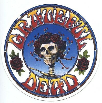 GRATEFUL DEAD skull roses round STICKER **FREE SHIPPING**  -d 15745