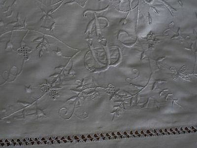 *REDUCED* RARE MOUNTMELLIK WHITEWORK EMBROIDERED DOUBLE MONO EURO SHAM~ ~ExCond