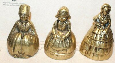 Lot 3 Vintage Brass Figural Lady Bells Southern Belles Colonial Plantation DUTCH