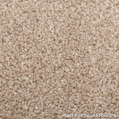 Soft Beige Extra Deep Pile Carpet Hessian Backed Quality Saxony, 4m & 5m Wide