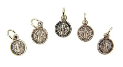 Lot of 5 Saint St Benedict Medal 1/2 Inch Oxidized Silver Evil Protection Charm