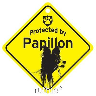 Protected by Papillon Dog Window Sign Made in USA