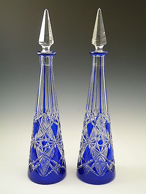 BACCARAT Crystal - Stunning Pair Cut-to-Clear TSAR Decanters - 16 1/2""