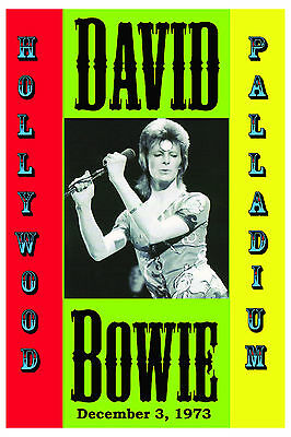 David Bowie at Hollywood Palladium Concert Poster 1973