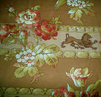 Antique French Roses Heraldic Lion Fabric ~ mauve mocha red pink brown olive