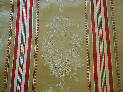 Antique French Early 1900 Ticking Fabric ~ Red Pale Brown Camel ~ Flower Basket
