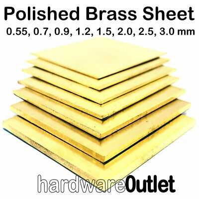 Polished Brass Sheet 0.7 0.9 1.2 1.5 2.0 2.5 3.0 mm x 22 Pre Cut Sizes