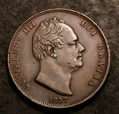 1837 William Iv Halfpenny 7 Over 7 Variety Cgs Uk Graded 50 Spink 3847
