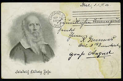 """GERMANY 1902 5pf. GERMANIA PERFINED D.L. """"DEUTSCHE LLOYD"""" BERLIN TO CHICAGO TO"""
