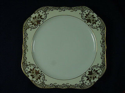 """MEITO FINE CHINA HEAVY GOLD HANDPAINTED SQUARE 8"""" PLATE"""