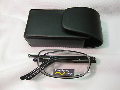 BLACK COMPACT FOLDING Reading Glasses ~ Black Snap Case with Belt Clip +1.75