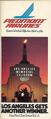 Airline Timetable - Piedmont - 01/04/84 - Los Angeles Coliseum cover
