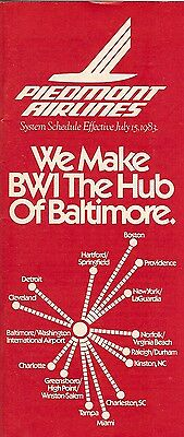 Airline Timetable - Piedmont - 15/07/83 - BWI The Hub of Baltimore cover