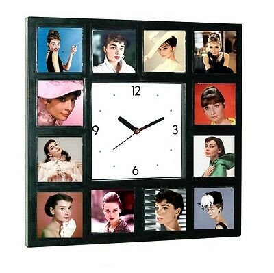 Beautiful faces of Audrey Hepburn Clock with 12 pictures
