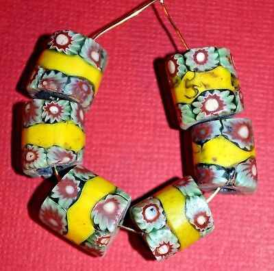 Antique Venetian Millefiori Glass Beads W Center Stripes From The African Trade