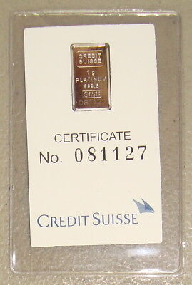 ~ Credit Suisse 1 Gram .9995 Platinum Bullion Bar ~