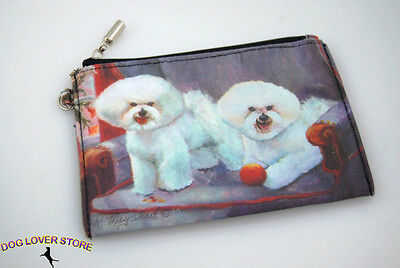 Bichon Frise Dog Bag Zippered Pouch Travel Makeup Coin Purse