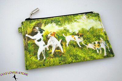 Jack Russell Terrier Dog Bag Zippered Pouch Travel Makeup Coin Purse
