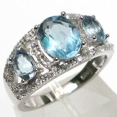 PRECIOUS 3 CT NATURAL BLUE TO GREEN FLUORITE 925 STERLING SILVER RING SIZE 7