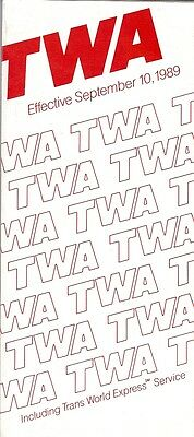 Airline Timetable - TWA - 10/09/89