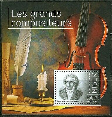 """Niger 2013 """"great Composers"""" Souvenir Sheet Beethoven"""