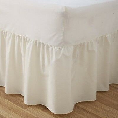 "24"" Deep Luxury Plain Dyed Noniron Percale Cotton Single Bed Valance Sheet Cream"