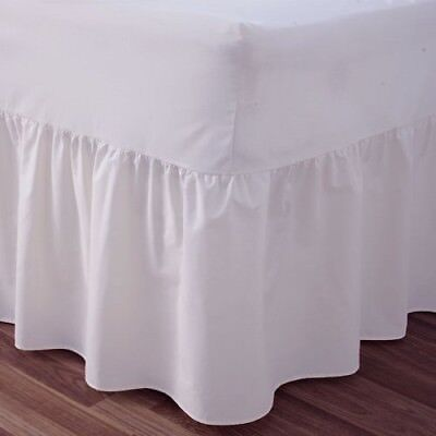 "24"" Deep Luxury Plain Dyed Noniron Percale Cotton Single Bed Valance Sheet White"